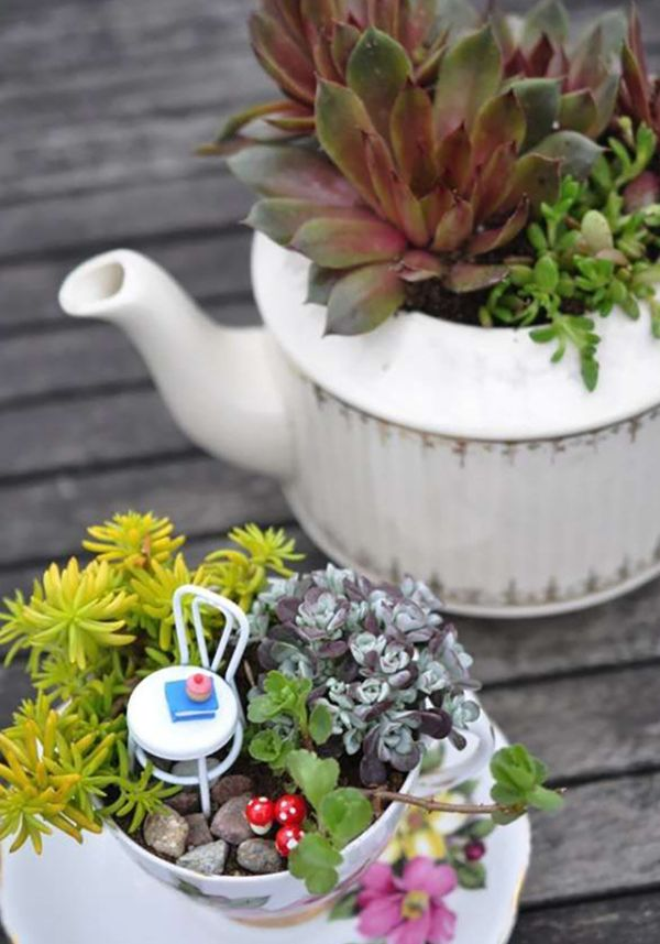 jardin de fée idée magnifique comment réutiliser la vaisselle ancienne