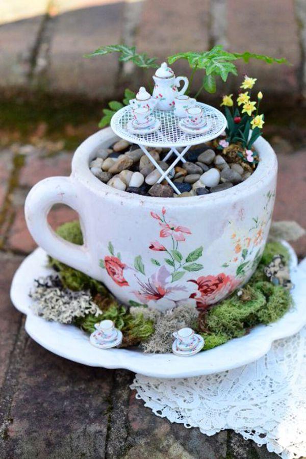 jardin de fée vaisselle ancienne recyclage projet bricolage