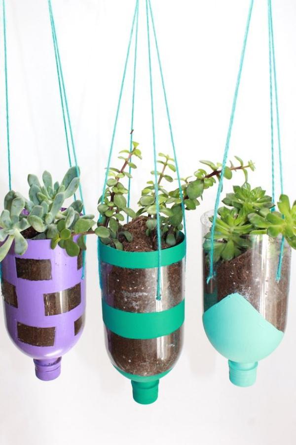 jardinière suspendue bricolage bouteilles en plastique