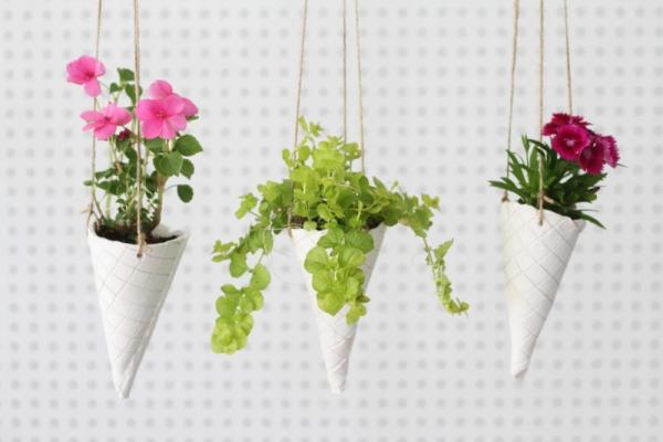 jardinière suspendue bricolage cônes en plâtre