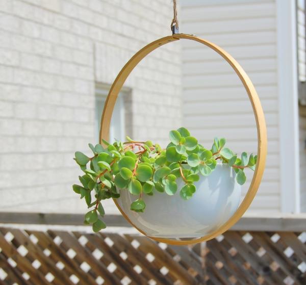 jardinière suspendue bricolage un pot en porcelaine