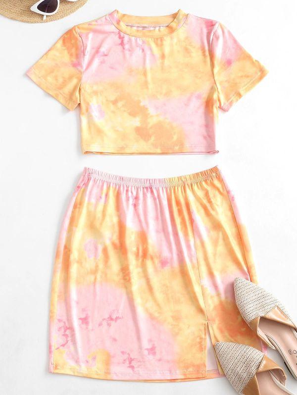 jupe courte et top effet tie and dye maison mode femme 2020