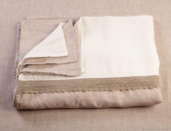 linge de lit en lin lavé avec dentelle