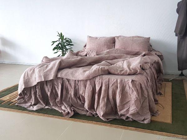 linge de lit en lin lavé couleur rose