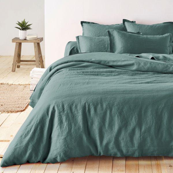 linge de lit en lin lavé couleur vert sapin