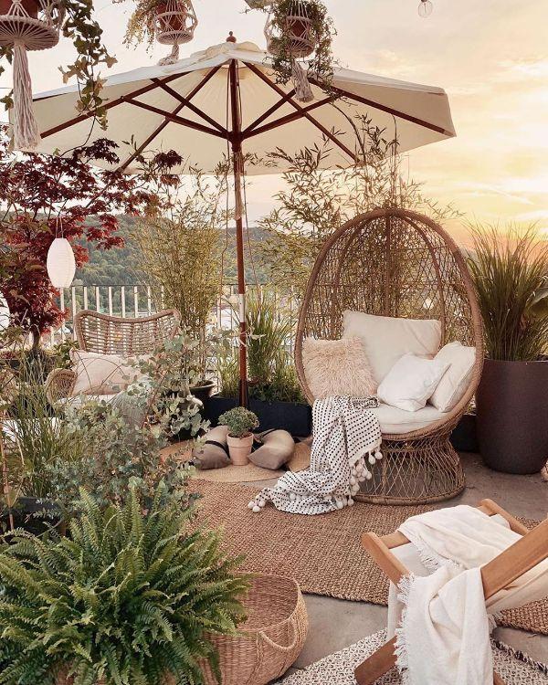 matières naturelles salon de jardin bohème mobilier en rotin