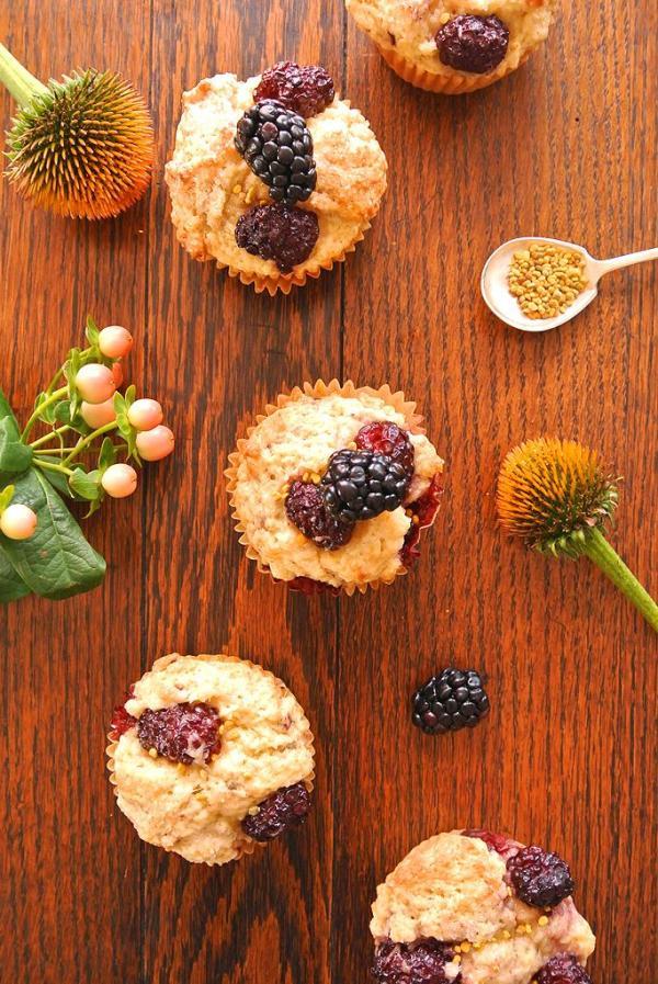 muffins aux framboises et pollen d'abeille