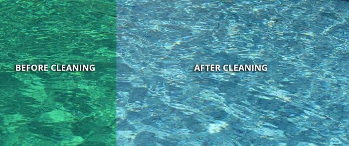nettoyage fond de piscine avant et après