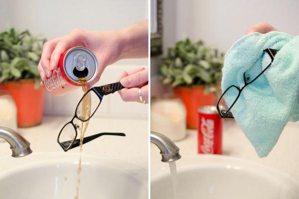 nettoyer vos lunettes avec du coca-cola