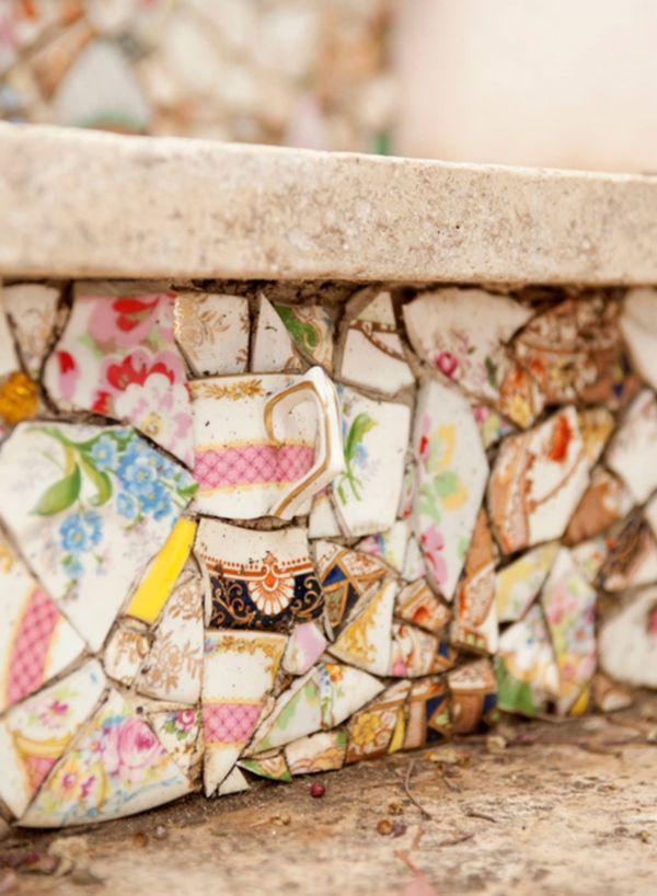 pas d'escalier déco mosaïque en vaisselle ancienne