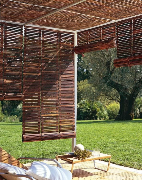 patio couvert stores en bambou