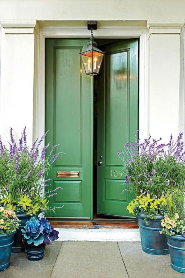 porte d'entrée à deux battants couleur vert