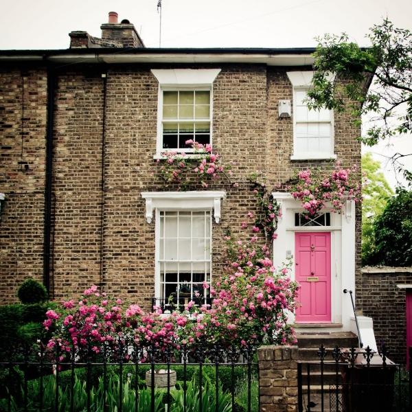 porte d'entrée pleine en bois couleur rose