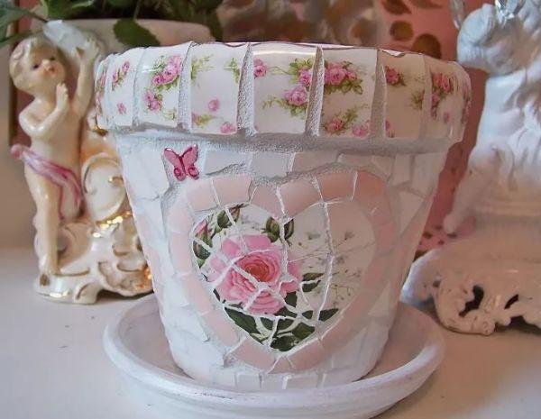 pot de fleurs customisé vaisselle ancienne bricolage créatif