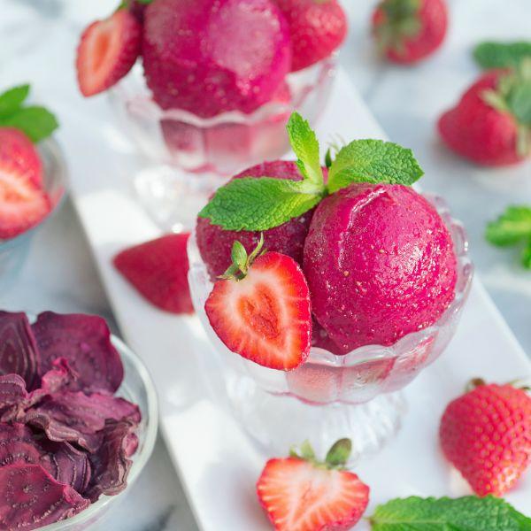 recette sorbet à la betterave et fraises