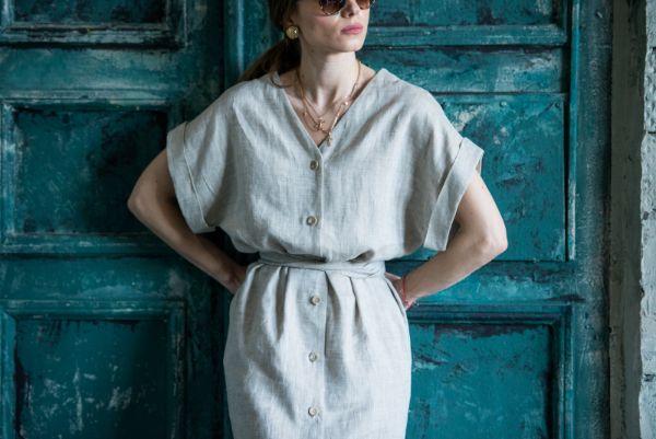 robe boutonnée devant en lin linge de lit en lin lavé