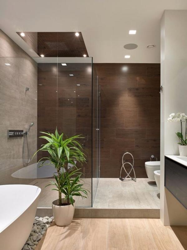 salle de bain japonaise avec plantes carrelage gris et brun