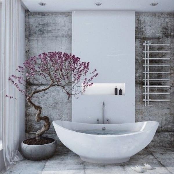 salle de bain japonaise baignoire à poser arbre de petite taille