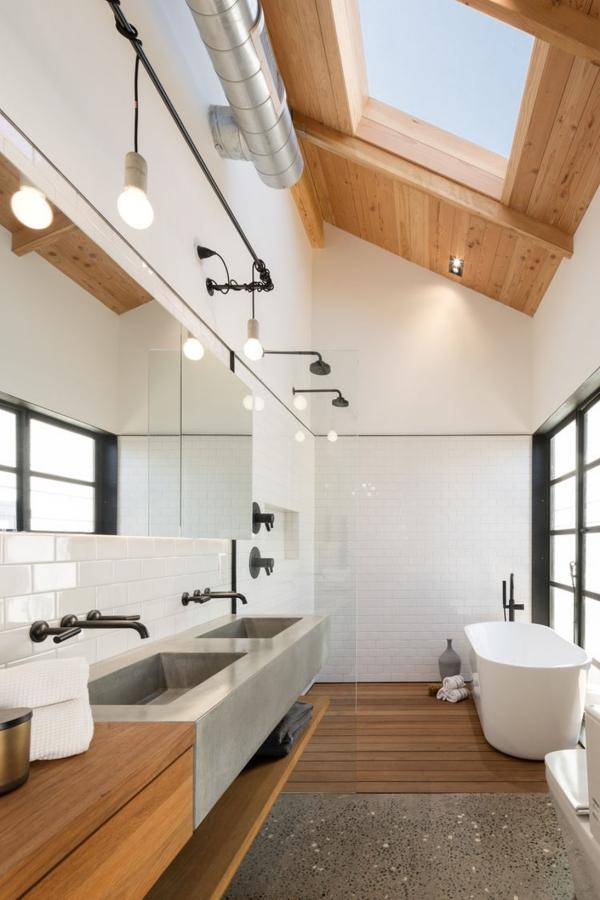 salle de bain japonaise carrelage blanc éviers en ciment