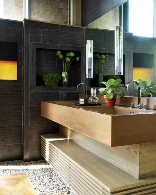 salle de bain japonaise carrelage noir sol décoré de cailloux