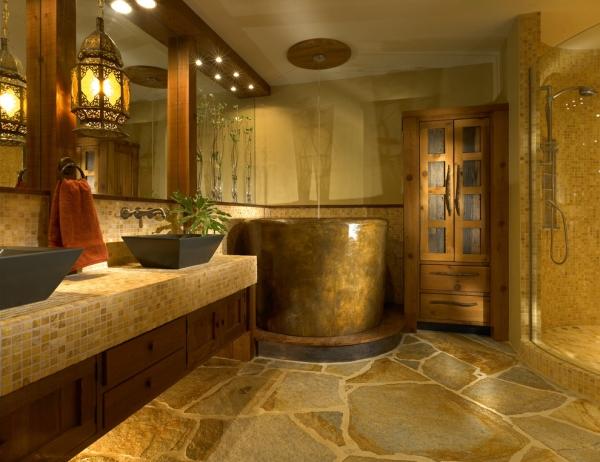 salle de bain japonaise carrelage travertin baignoire ronde