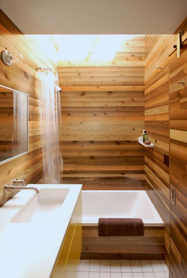 salle de bain japonaise revêtement mural en bois de teck