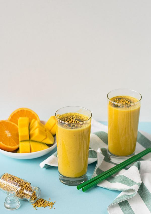 smoothie mango orange vegan pollen d'abeille