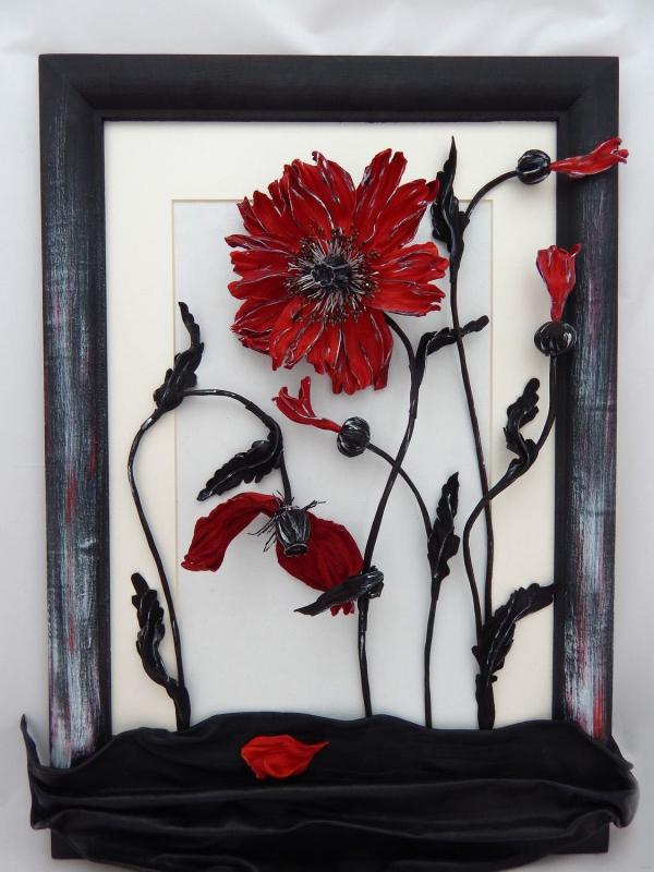 tableau vivant des fleurs rouges