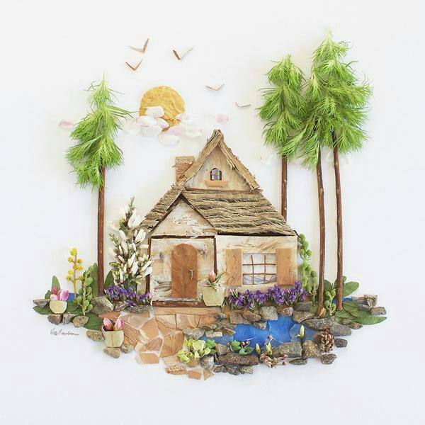 tableau vivant maison entre les arbres