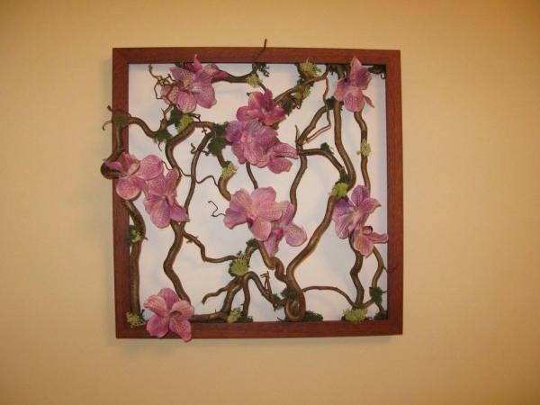 tableau vivant orchidées roses
