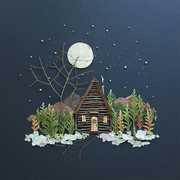 tableau vivant une maisonnette dans la forêt