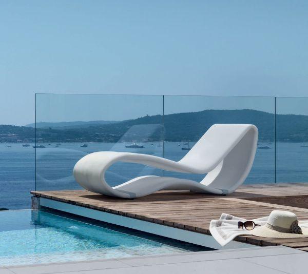 transat jardin design en aluminium et textile blanc