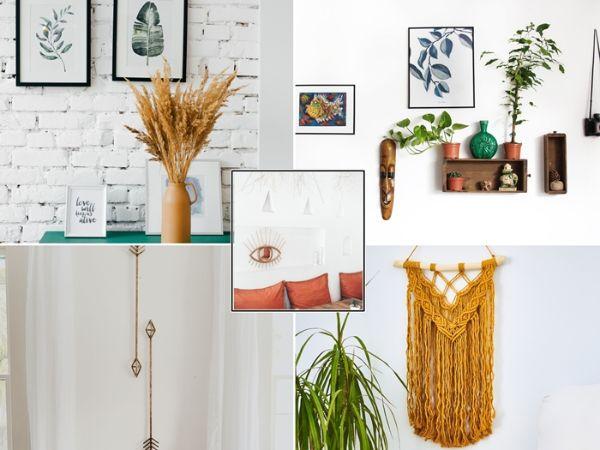 décoration murale en macrame, idee deco diy, briques blancs sur les murs dans le salon, vase de blés