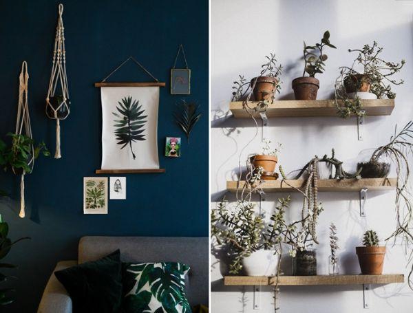 mur en bleu foncé, canapé en gris clair style scandinave, décoration murale en macrame, plantes vertes d interieur