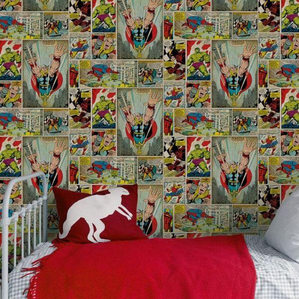 idée de papier peint à motif bande dessinée super héros, idée tapisserie murale chambre gacon