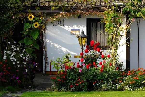 idée de bordure fleurie autour d une maison, gazon vert, idée aménagement maison de campagne